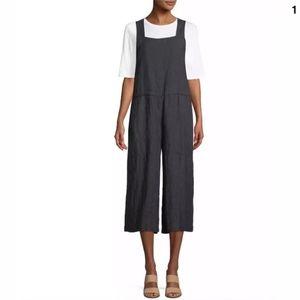 Eileen Fisher Wide Crop Overall Denim Jumpsuit